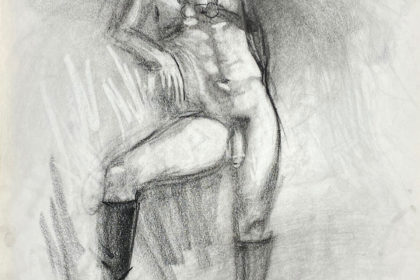 charcoal drawing of standing male model in leather fetish harness and leather boots