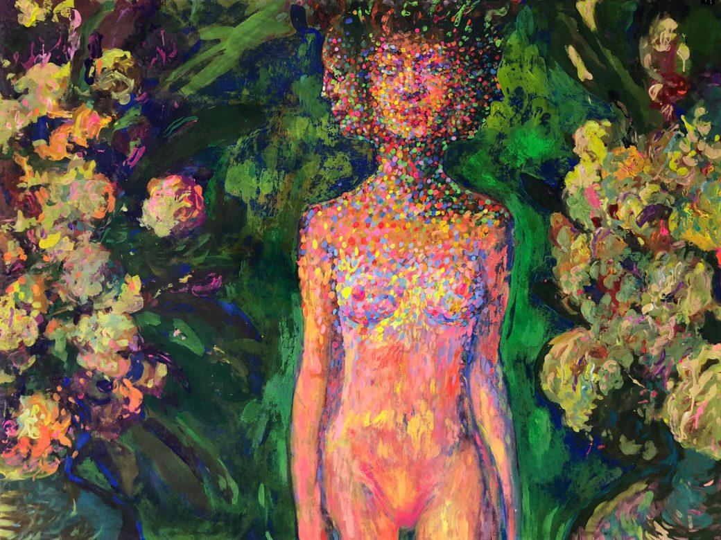 """Acrylic painting """"Transfiguration"""" with three faced woman among flowers"""