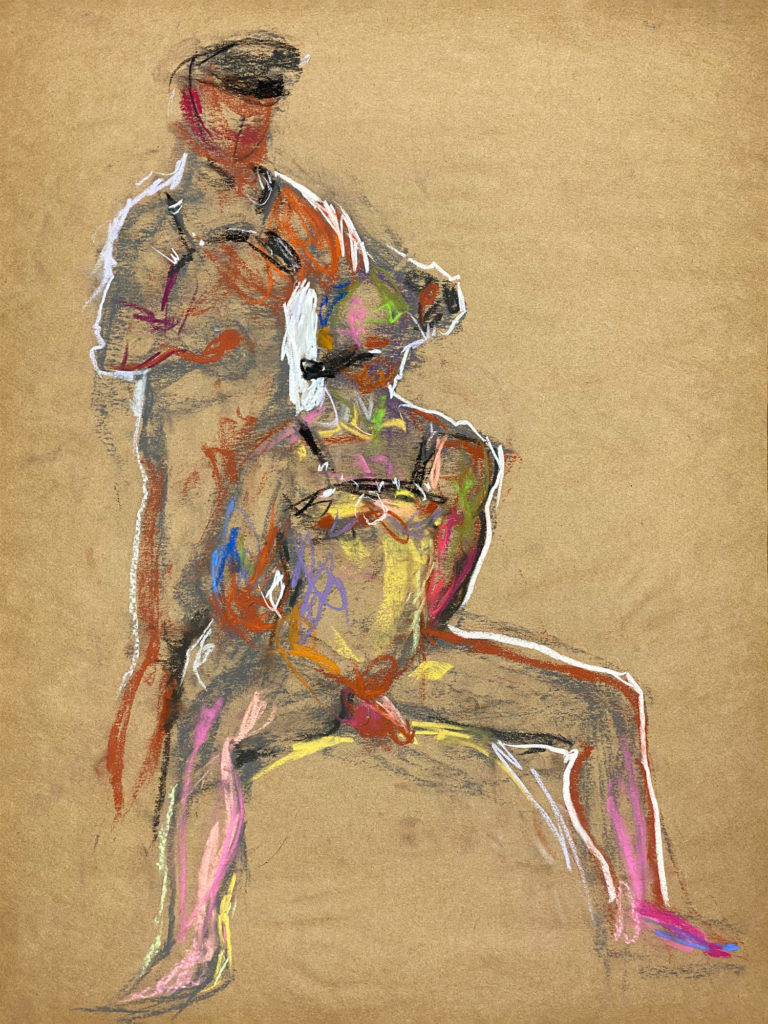pastel drawing of two male models in leather fetish garments
