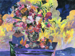 acrylic painting of still-life with flower bouquet with landscape on backdrop