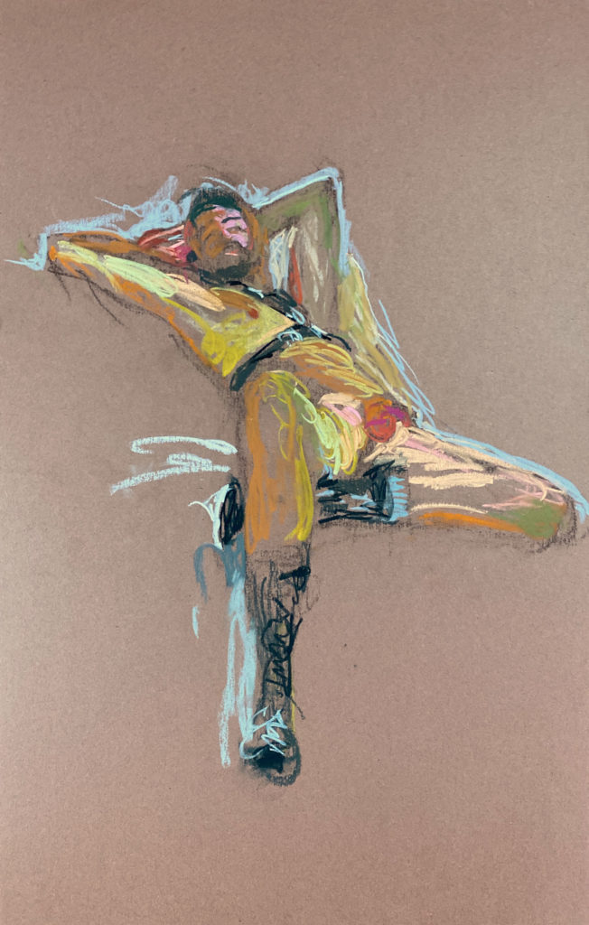 pastel drawing of male model reclining in leather fetish harness and boots