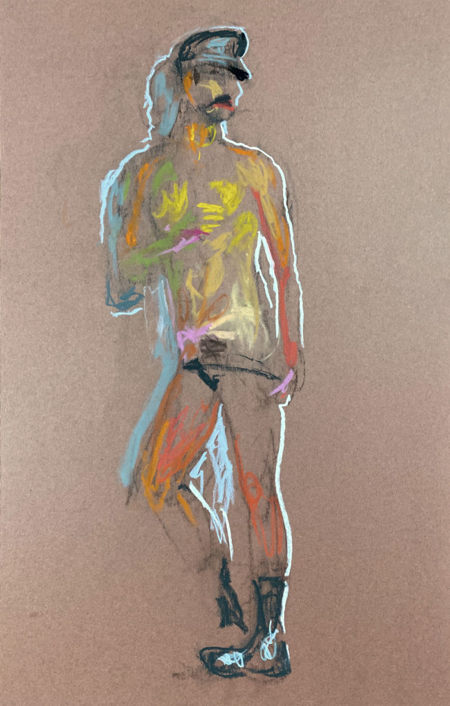 pastel drawing of male model cruising in leather fetish cap and briefs