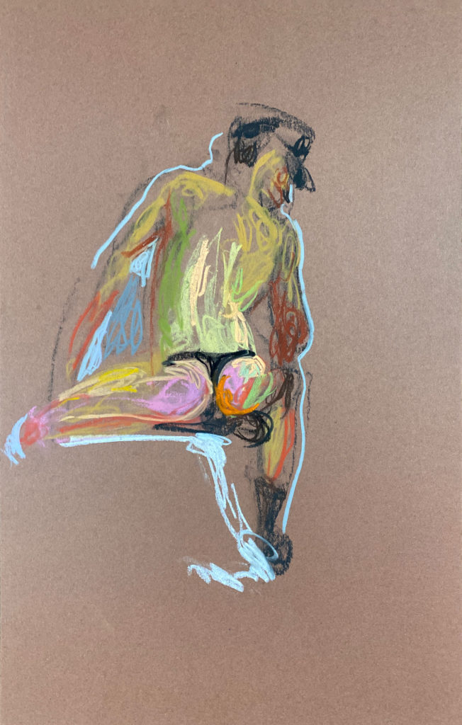 pastel drawing of male model sitting from backside in leather fetish cap and tango briefs