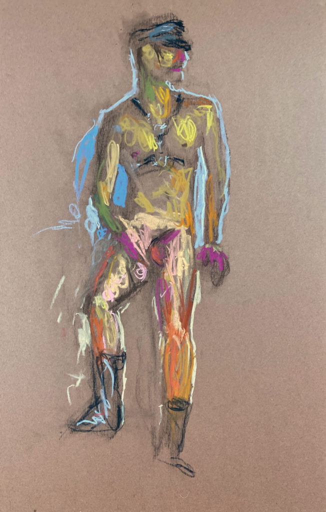 pastel drawing of male model cruising in leather fetish cap and harness