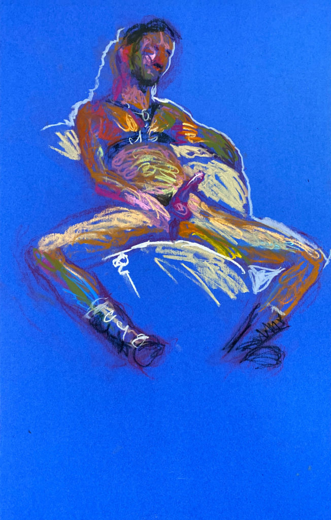 pastel drawing of male model reclining in leather fetish harness
