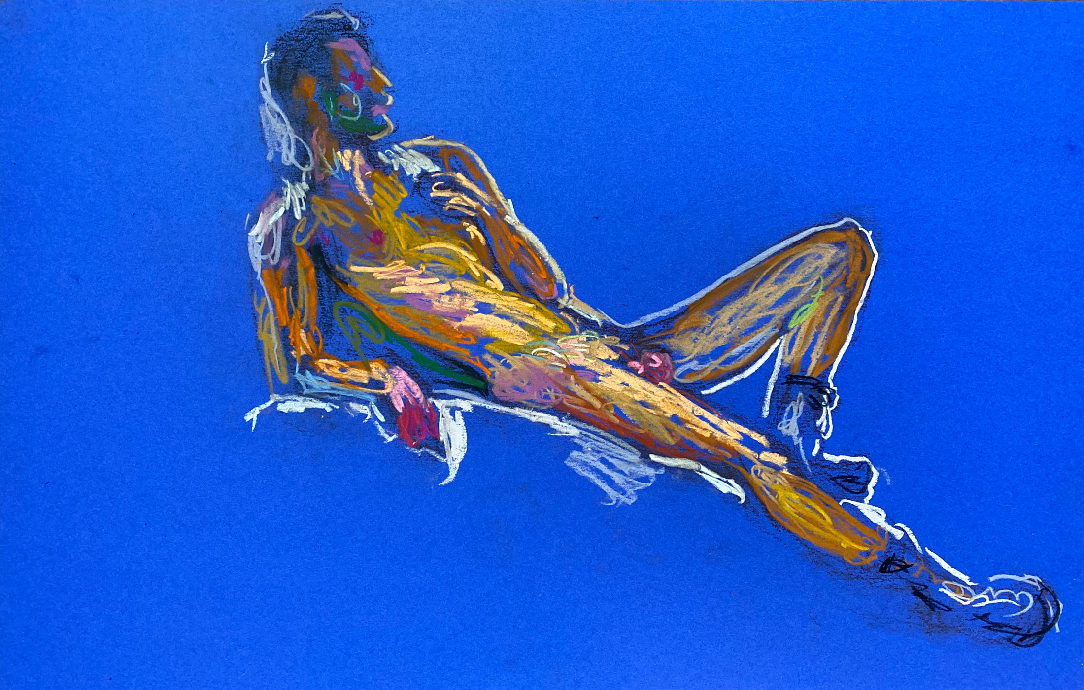pastel drawing of male model reclining in leather boots