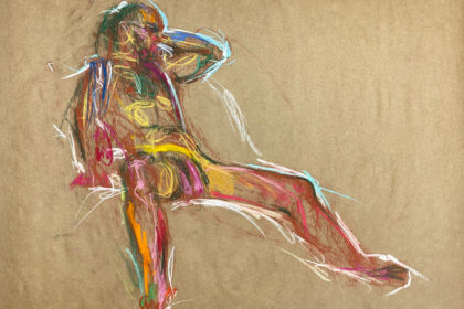 pastel drawing of male model resting