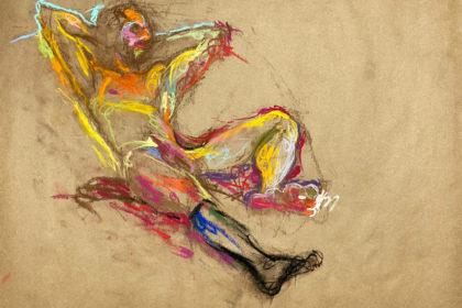 pastel drawing of male model in black sock sitting on purple drape