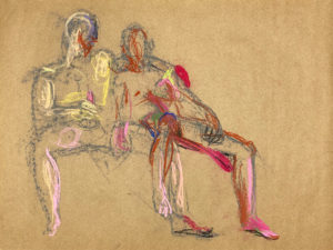 pastel drawing of two male models reclining