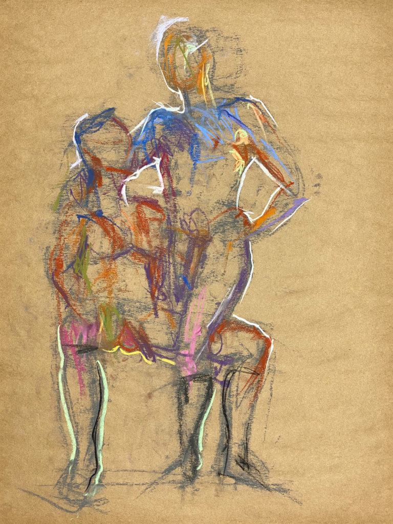 pastel drawing of two male models