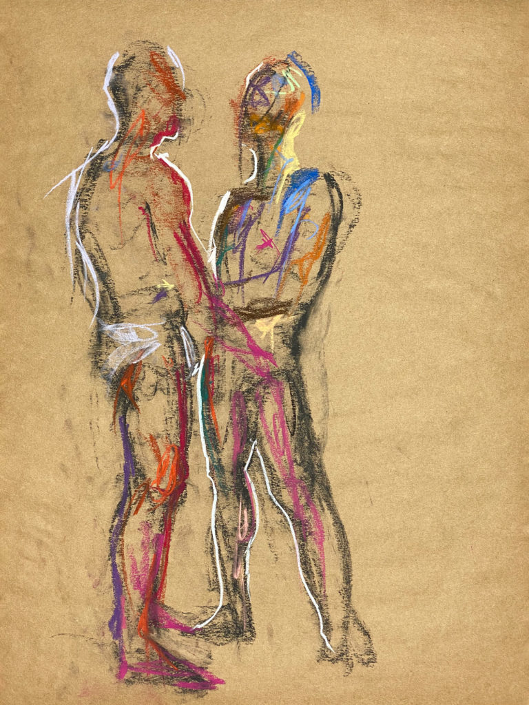pastel drawing of two male models in front to each other