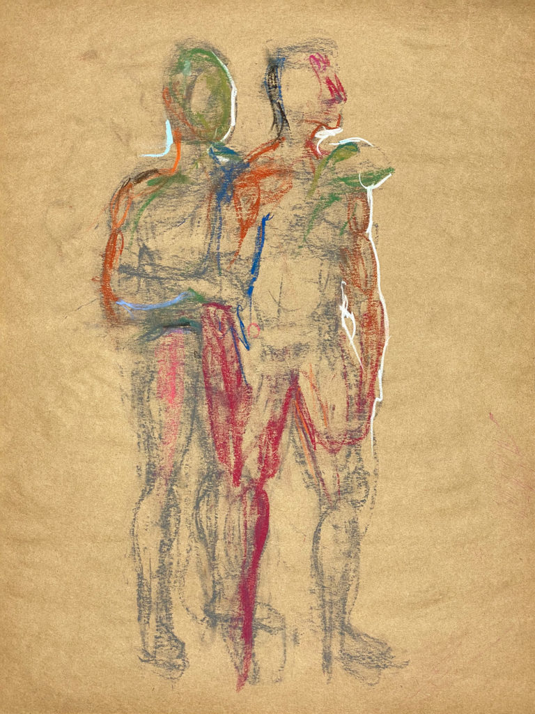 pastel drawing of two male models embracing