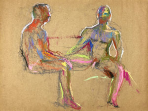 pastel drawing of two male models sitting