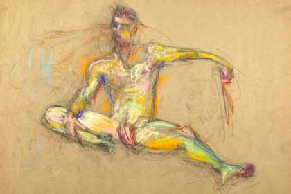 pastel drawing naked male model sitting