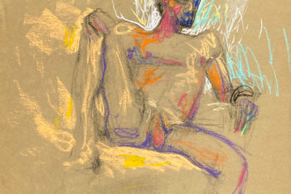 pastel drawing of male model sitting