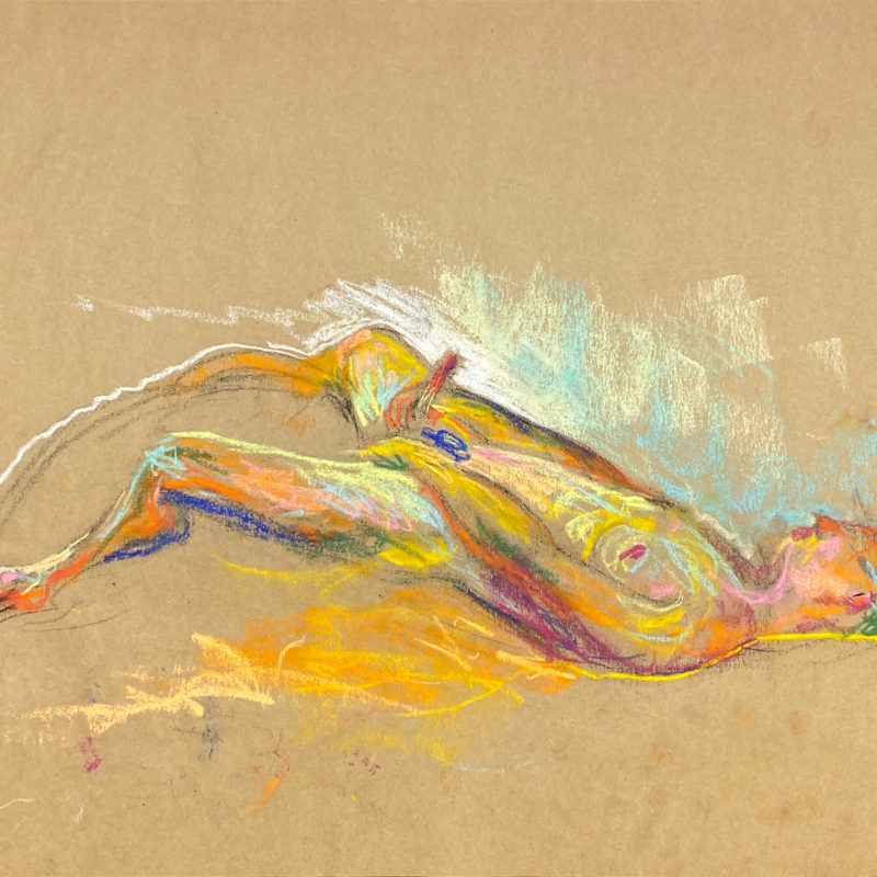 pastel drawing of nude male model laying aroused