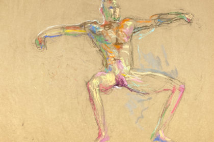 pastel drawing of sitting male model nude