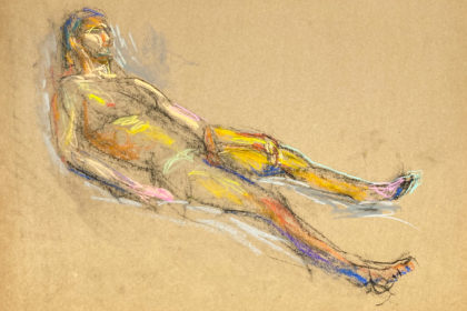 pastel drawing of naked male model reclining