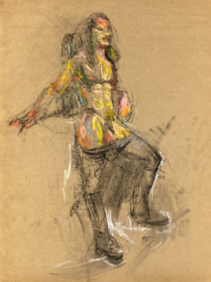 pastel drawing of naked male model in jeans and boots