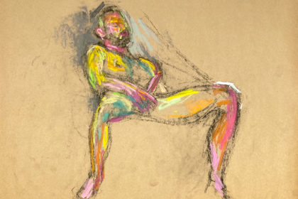 pastel drawing of naked male model playing with himself