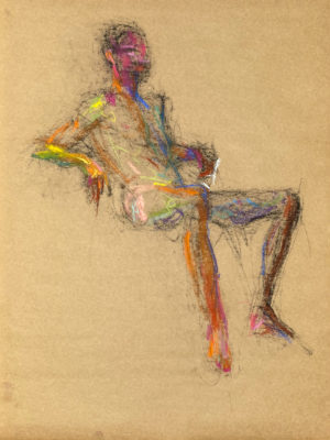 pastel drawing of naked male model sitting