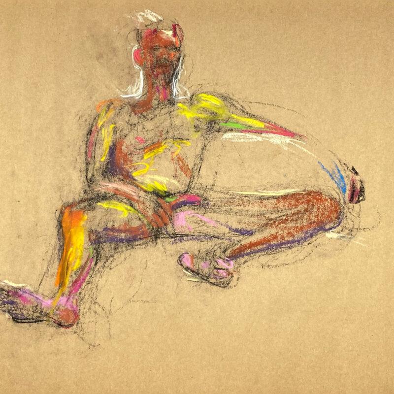 pastel drawing of naked male model amusing himself