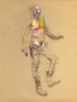pastel drawing of naked male model in pants