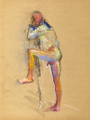 pastel drawing of naked male model in sailor shirt