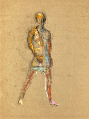 pastel drawing of semi naked male model in blue briefs