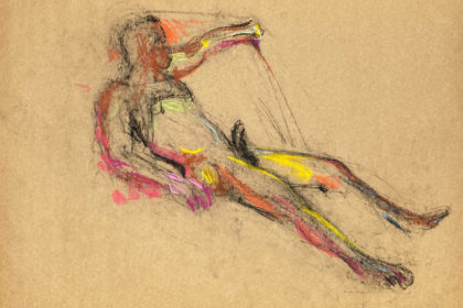 pastel drawing of laying aroused male model in black tank