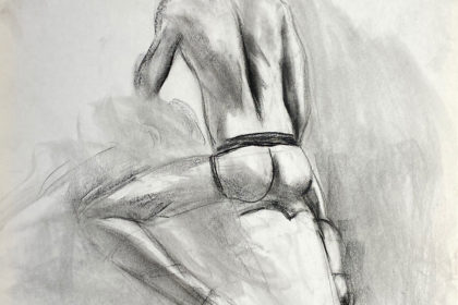 charcoal drawing of male model sitting in jocks from backside