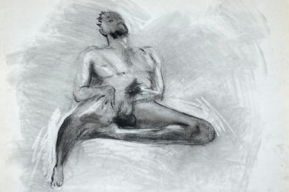 charcoal drawing of nude male model playing with himself