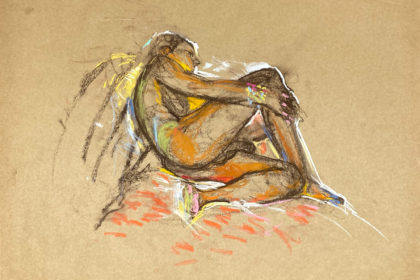 pastel drawing of male model reclining on ornamented drape