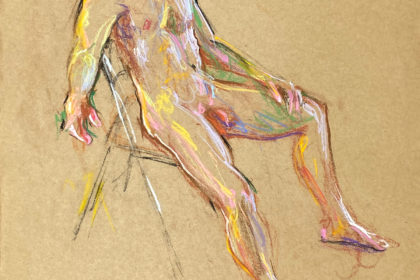 pastel drawing of male model sitting on chair
