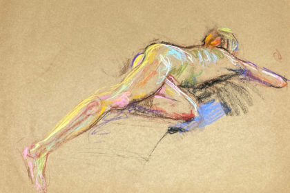 pastel drawing of male model laying