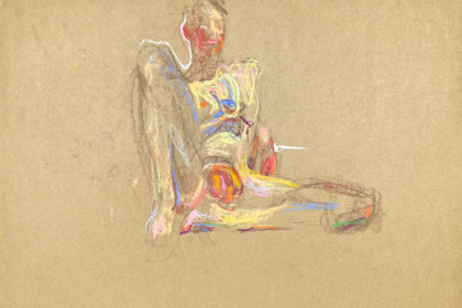 pastel drawing of sitting naked male model with banana