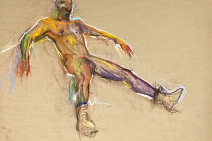 pastel drawing of male model in caterpillar boots
