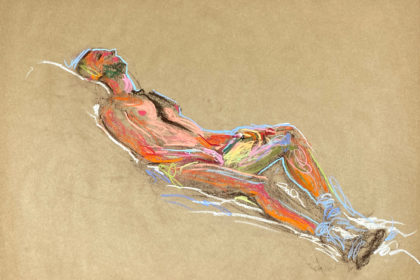 pastel drawing of male model reclining