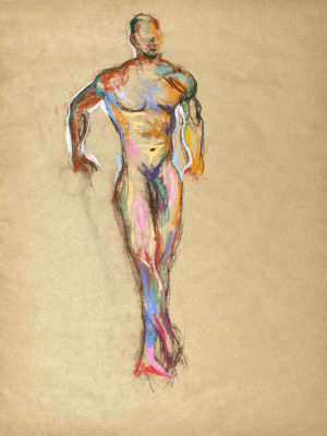pastel drawing of nude male model standing