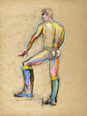 pastel drawing of nude male model in boots