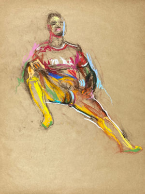 pastel drawing of nude male model in red soccer shirt and yellow gaiters