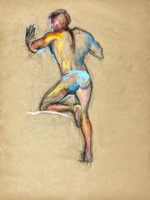 pastel drawing of nude male model in azure briefs from backside