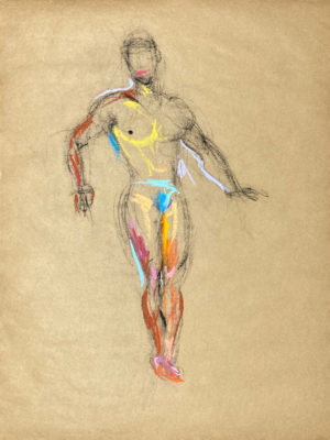 pastel drawing of nude male model in azure briefs