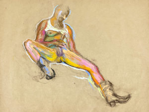 pastel drawing of nude male model in cowboy boots and tank