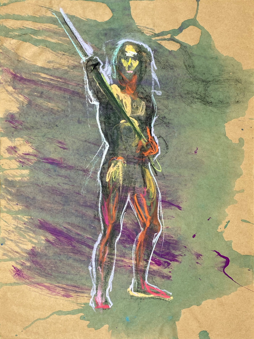 pastel drawing of male model holding wood staff