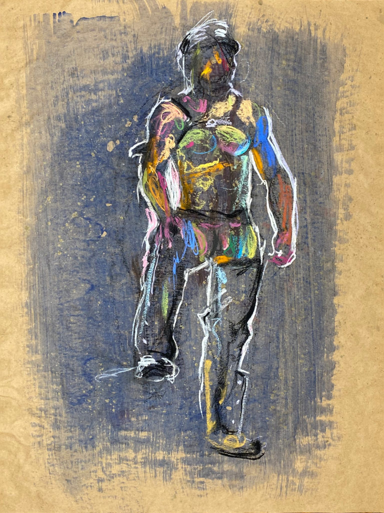 pastel drawing of male model in leather fetish outfit