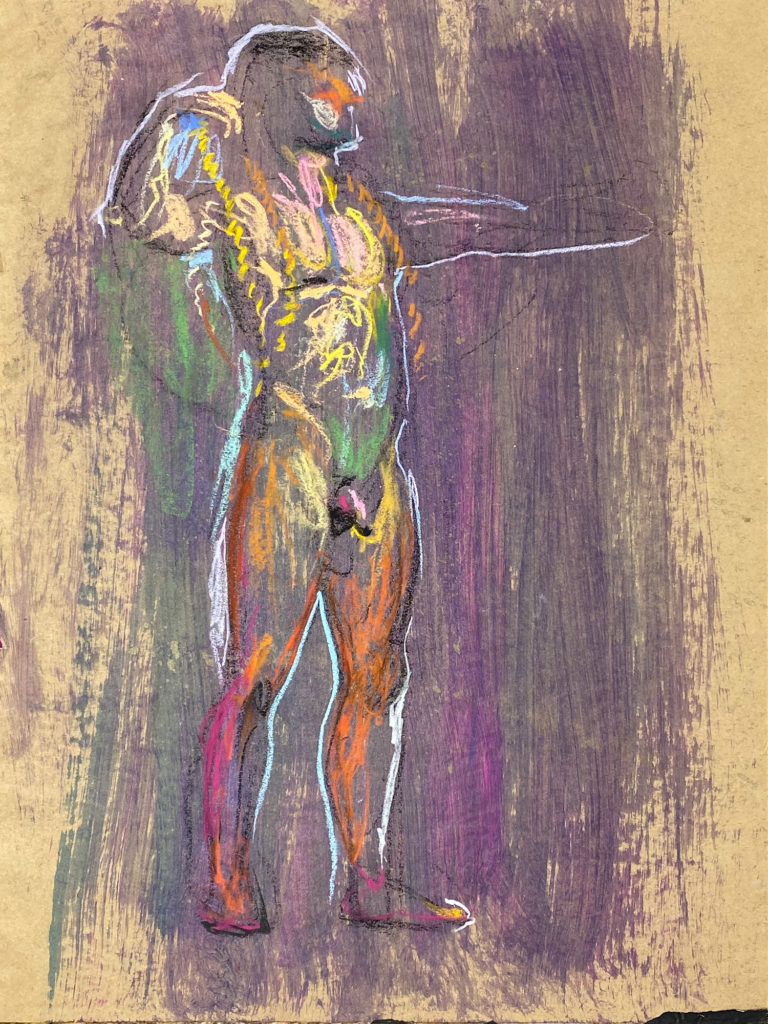 pastel drawing of male model holding rope and bow