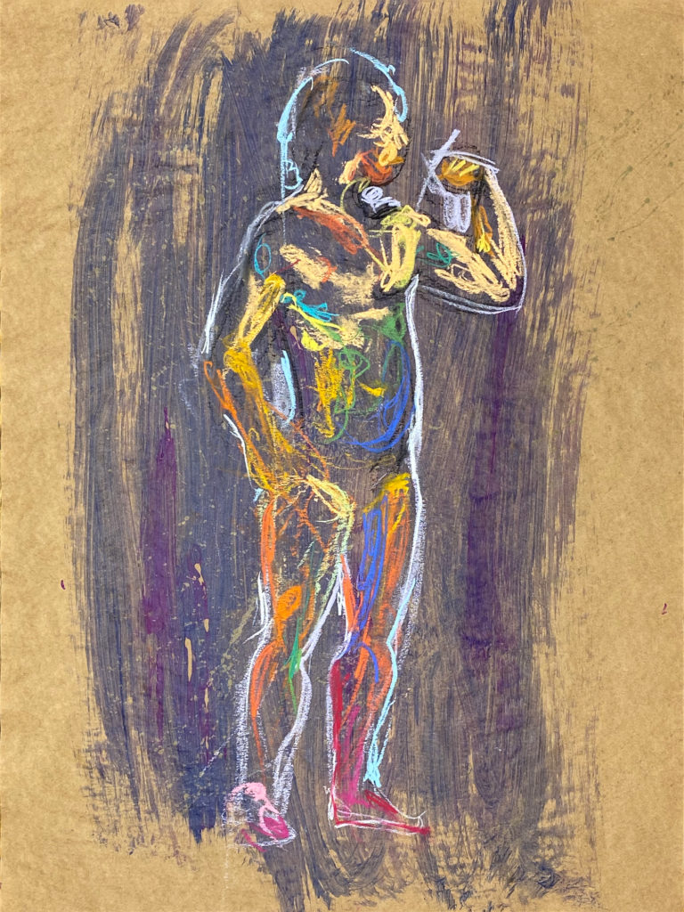 pastel drawing of male model flexing bicep