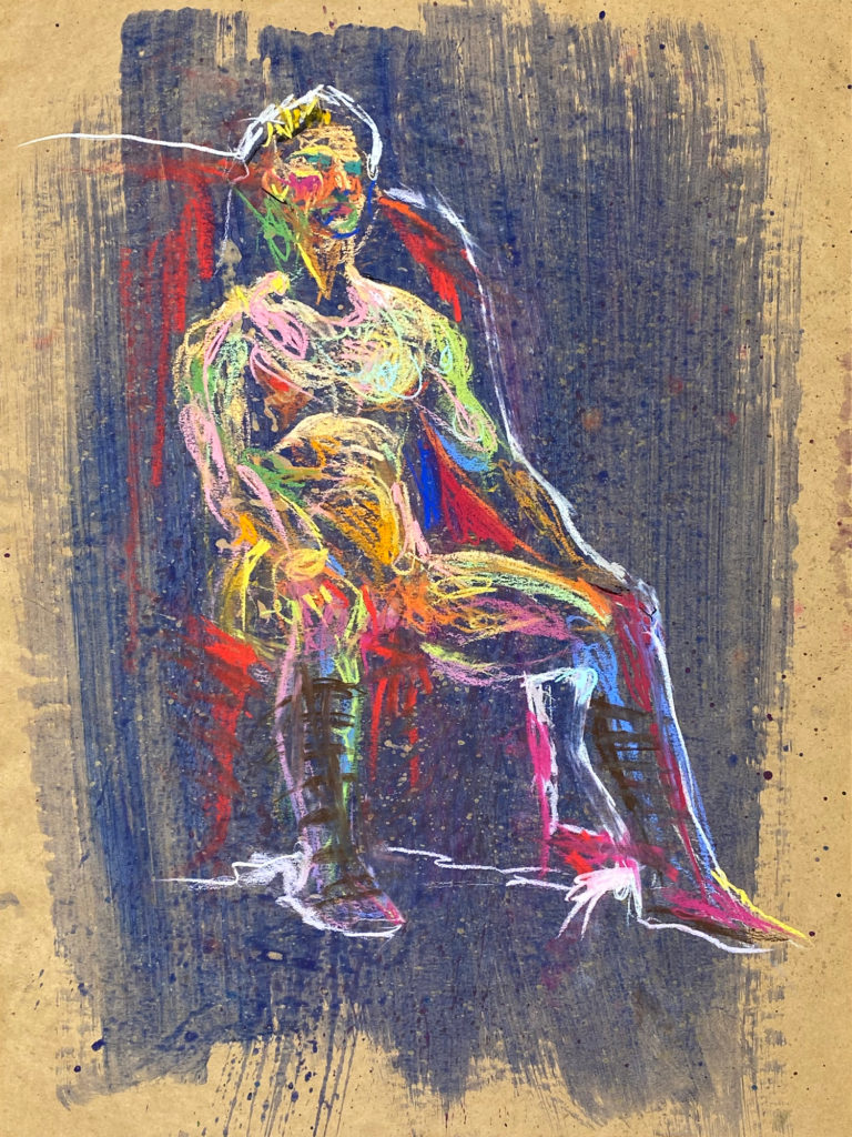 pastel drawing of male model in mirth crown and emperor sandals