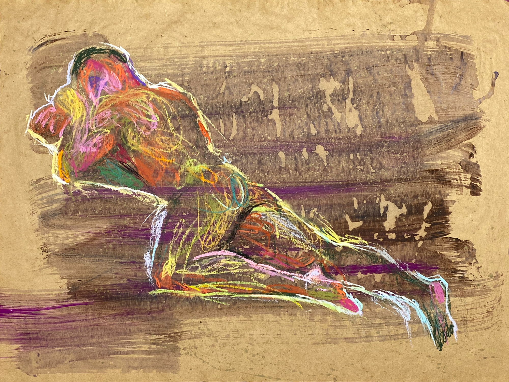 pastel drawing of nude male model laying